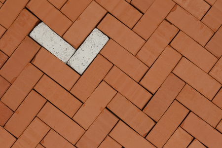pattern with bricks on a floor ground Stock Photo