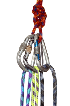 fixed line: some different ropes with hooks on white background