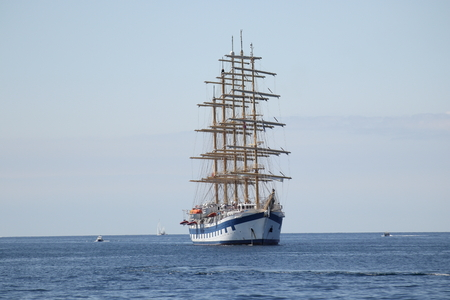 a big sailing boat on the blue ocean Stock Photo