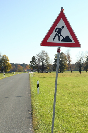 traffic sign near a small road in bavaria