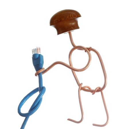 man with with cable in hand on white background 版權商用圖片