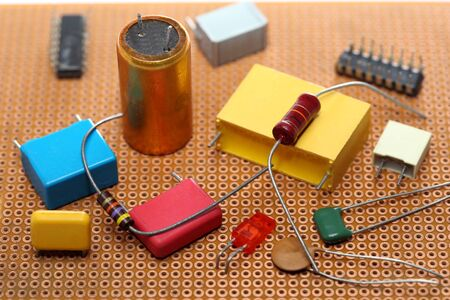 electronic circuits garbage as background from recycle industry Archivio Fotografico