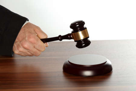 symbolic right and law with gavel on a desk Stockfoto
