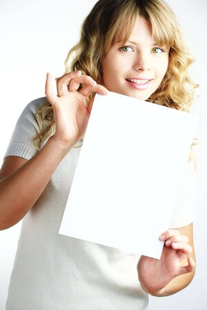 A woman girl holding a paper Stock Photo - 6049883