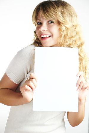 A woman girl  holding a paper Stock Photo