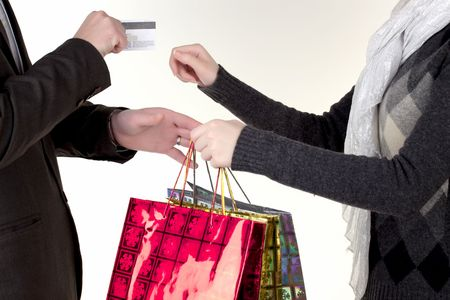Man passing credit card