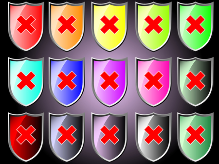 disapprove: Shield icon with stop Illustration