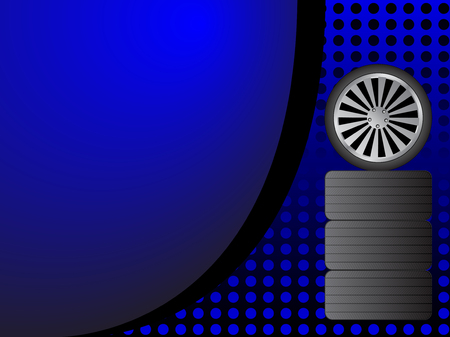 Car wheels on colored background Vector