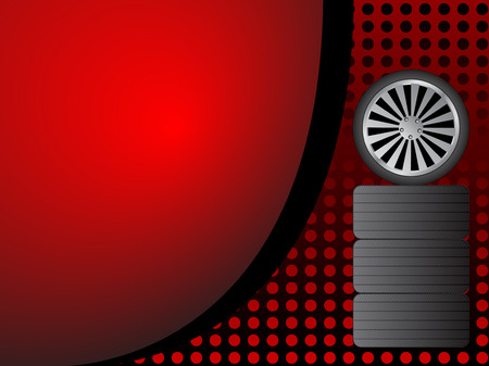 Car wheels on red background