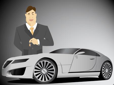 Businessman holding car keys Illustration