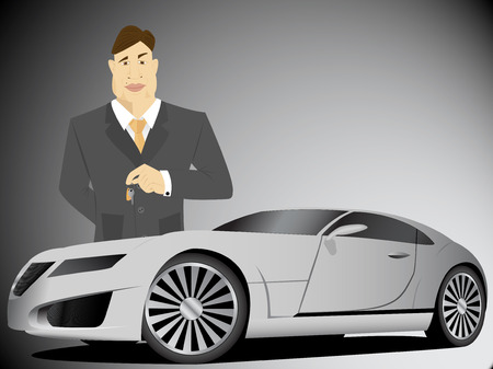 estate car: Businessman holding car keys Illustration