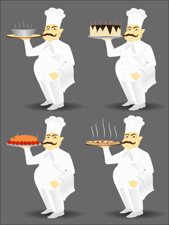 chef with big smile serving food Vector