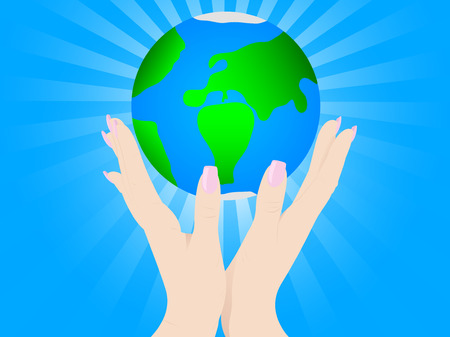 Open hands up with earth