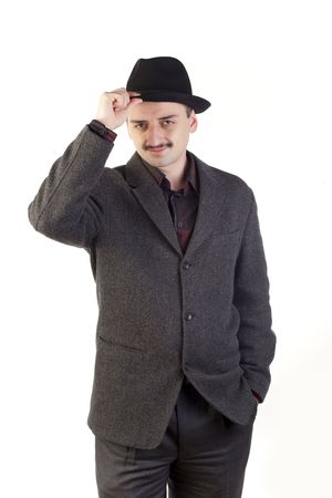 mustaches: Man adjusting the hat Stock Photo