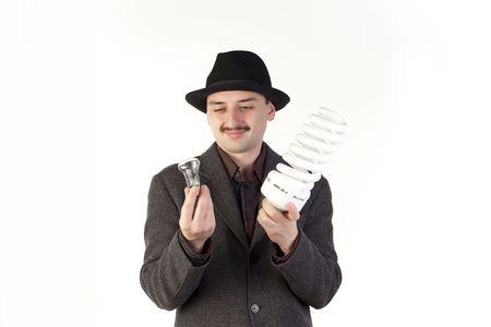mustaches: Man in hat choosing a bulb