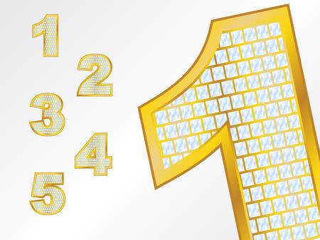 Gold Diamond numbers Illustration