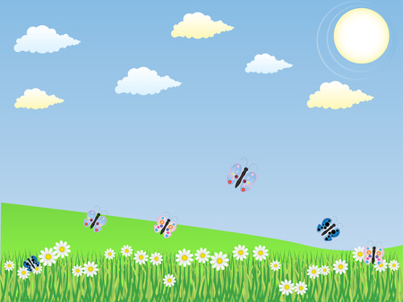 Spring Landscape with butterflies  Vector