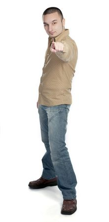 Young man pointing with hand photo