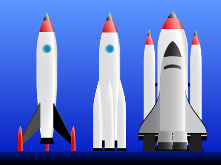 Three types of rockets ready to lounch