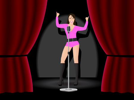 Stage with open red curtain and a girl singing and dancing Vector