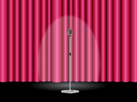 Stage with a closed pink theater curtain and a microphone ready for show Illustration