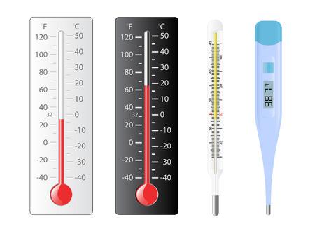 Cuatro diferentes tipos de termómetros con temperaturas de varios Foto de archivo - 6696456