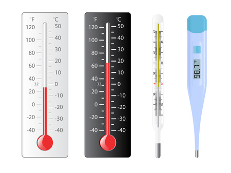 cold temperature: Four different types of thermometers with several temperatures