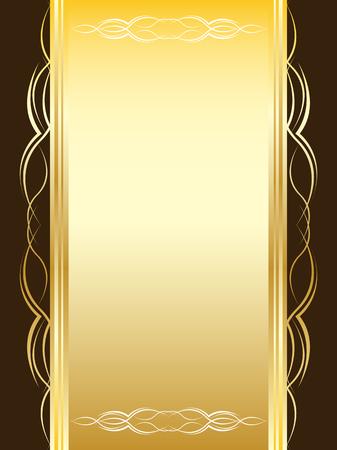 letras doradas: Tarjeta amarilla de vintage con ornamentos sobre un fondo de color marr�n  Vectores