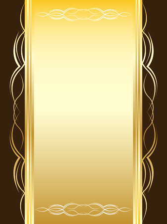 Yellow vintage card with ornament on a brown background