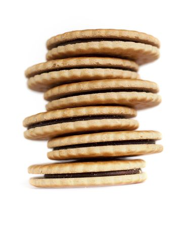 Crooked tower of chocolate cookies
