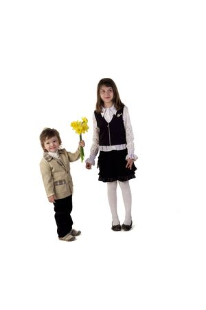 Cute couple of two children photo