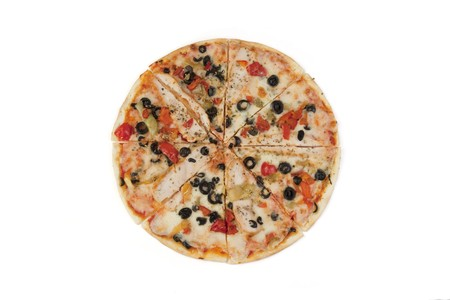 Tasty pizza on a white background