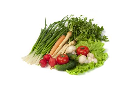 Different types of vegetables on a white background