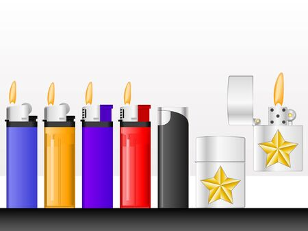 Set of cigarette lighters on a white background photo