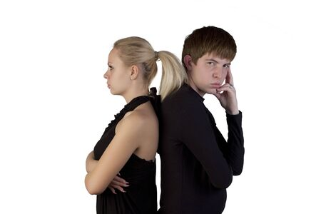 Woman and young man posing on a white background