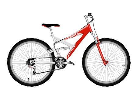 mountain bicycles: Red bicycle isolated on white Stock Photo