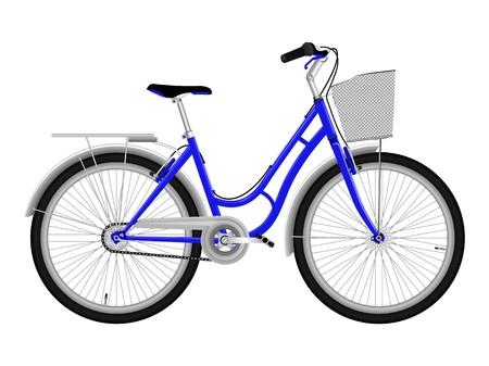 Blue bicycle isolated on white photo