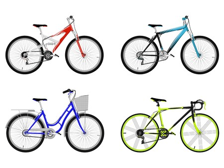 Set of bicycle isolated on white