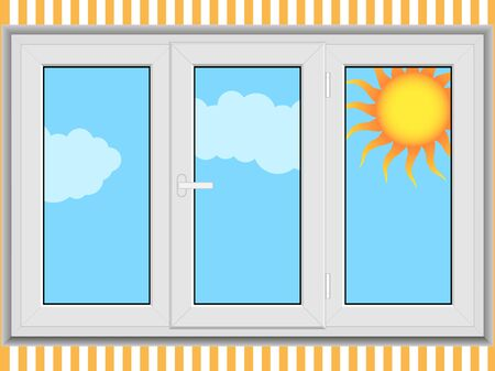 Closed window with sun behind Stock Vector - 7129236