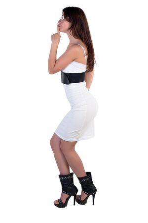 Fashion model posing on a white background photo