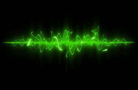 Green sound wave background. Stock Photo