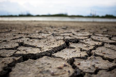 Crack ground drought  closeup.