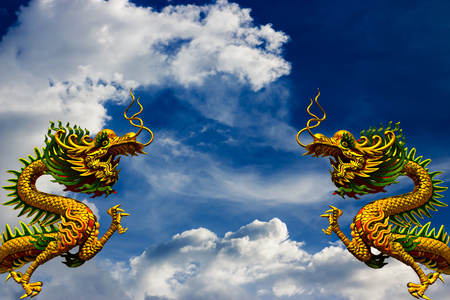 Dragon China - East Asia art white dim cloud sky background.