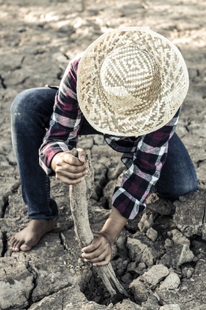 Woman planted a tree on a drought-stricken land in hopes of recovering the forest, Drought crisis concept. Stock Photo
