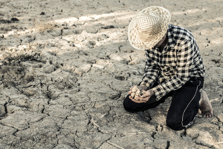 Man on a drought-stricken land in hopes of recovering, Drought crisis concept.