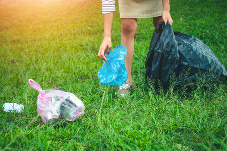 Women volunteer help garbage collection charity environment, concept cleaning.