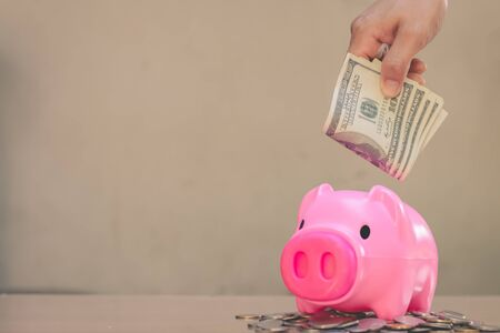 Save money in pig pink for future use, Concept saving money for the future.