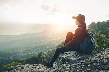 Women tourists walk in the climbing to nature tours.
