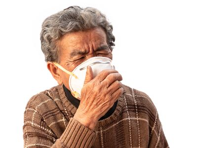 Grandma uses a mask to prevent dust isolated on white background.