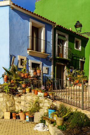 Villajoyosa -25 Dec 2018 - Typical coloured houses in Spanish Town during sunrise